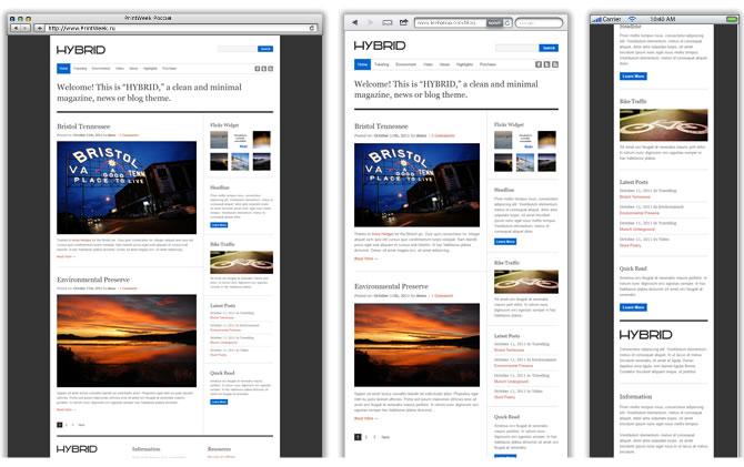 Wordpress-тема Hybrid (http://demo.themefit.com/hybrid/) имеет всего три фиксированные респонсив-ширины.