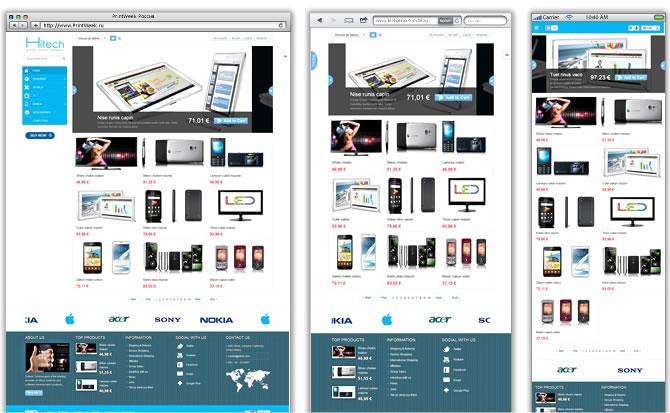 Обратите внимание, как меняется расположение и форма меню Joomla-шаблона AppStore (http://demo.smartaddons.com/templates/joomla25/sj-appstore-hitech/) в зависимости от размера экрана.